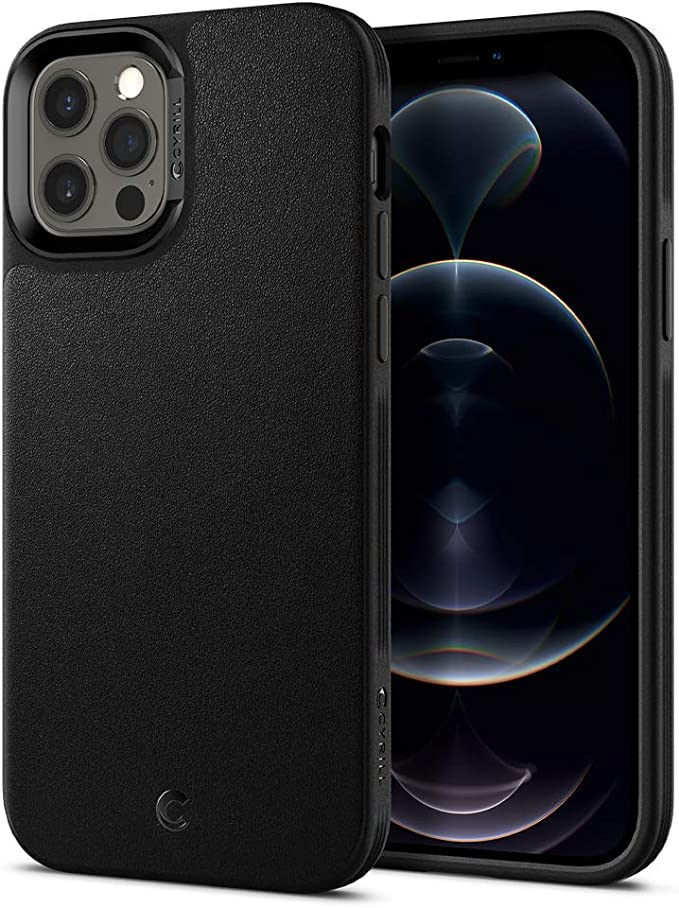 CYRILL Spigen Leather Brick for iPhone 12 Case/iPhone 12 Pro Case Cover (2020) - Black
