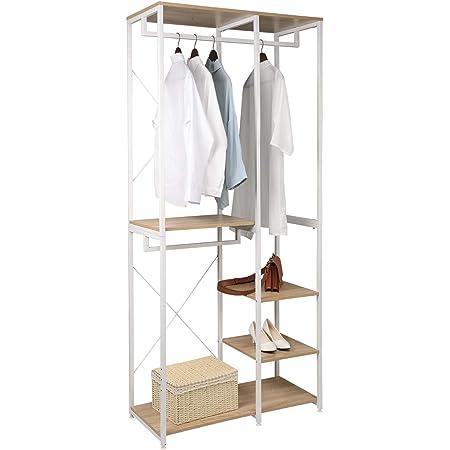 WOLTU SR0062whe Porte-Manteau en aggloméré et Acier,Porte-vêtements avec étagère à chaussures,Blanc+Chêne Clair