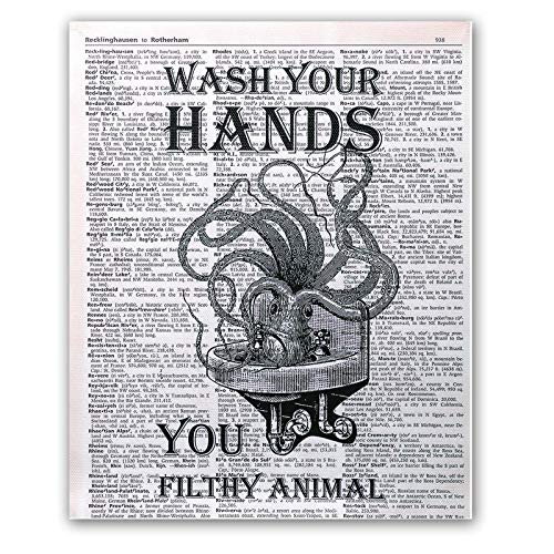 TIICA Octopus Wash Hands You Filthy Animal Dictionary Wall Art Prints, Funny Nautical Bathroom...