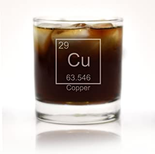 Engraved Copper 7th Anniversary Periodic Table of Element Rocks Glass