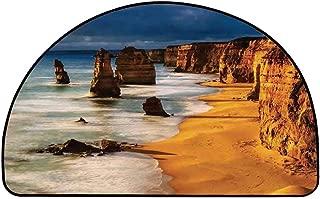 YOLIYANA Coastal Decor Semi Circle Mat,Twelve Apostles Australia Sunset Great Ocean Road Coast Cliff Washed by Sea Surf Picture Carpet Indoor Mat,23.6