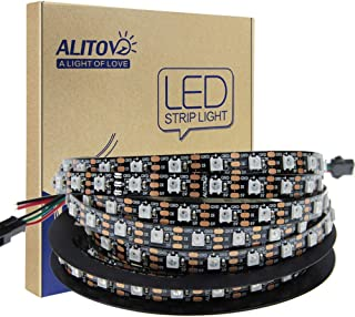 ALITOVE 16.4FT 300 Pixels WS2812B Programmable Addressable LED Strip Light Black PCB 5050 RGB Dream Color Flex LED Rope Light DC5V Not Waterproof