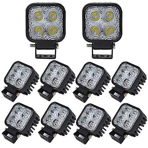 Leetop 10X 12W LED Lampe Scheinwerfer Kaltweiß Rücklicht LED Arbeitsscheinwerfer Wasserfest IP67 12V 24V