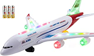 Toysery Airplane Toys for Kids, Bump and Go Action Airbus A380 Model Airplane Toy for Boys and Girls with Flashing Light Up, Real Jet Sound – Battery Powered Electric Plane - 3 AA Batteries Included
