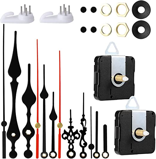 Details about  /EMOON 2 Pack Wall Clock Movement Mechanism with 4 Pack Clock Hands Silent Sweep