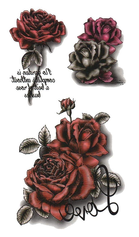 小説家ジェーンオースティンキャプション[THE FANTASY (ファンタジー)] タトゥーシール 薔薇 Rose-11 男女兼用 3歳以上