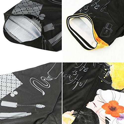 GWELL Damen Fahrradtrikot Set Fahrrad Anzug Trikot Kurzarm + Radhose mit 3D Sitzpolster Muster-C S - 6