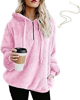efa8fefde0d KOERIM Women s Warm Fuzzy Oversized Sherpa Pullover Hoodie Pockets  (Necklaces)