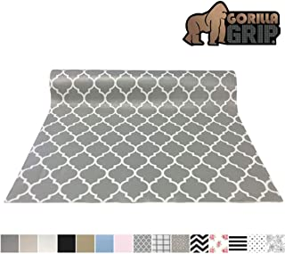 Gorilla Grip Original Smooth Top Slip-Resistant Drawer and Shelf Liner, Non Adhesive Roll, 12 Inch x 20 FT, Durable Kitchen Cabinet Shelves Liners for Kitchens Drawers and Desk, Quatrefoil White Gray