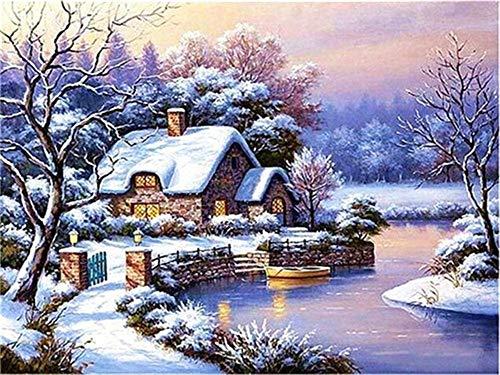 Pintura de diamante de invierno 5d DIY nieve diamante bordado mosaico paisaje decoración hecha a mano pintura de diamante A2 45x60cm
