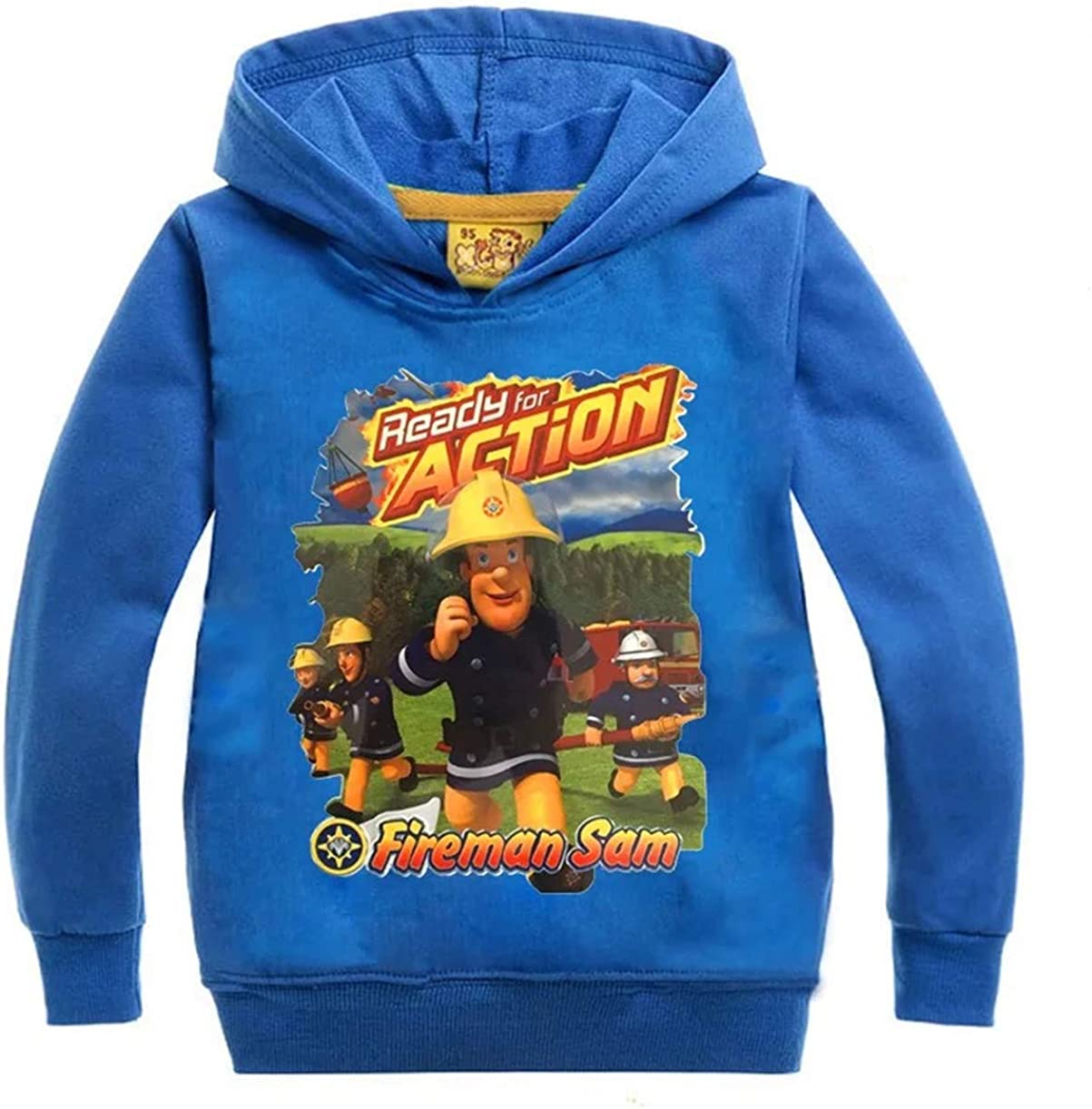 2T-14 Years Gin-back Boys Fireman Sam Graphic Hoodie-Kids Casual Long Sleeve Hooded Sweatshirt in 20 Colors