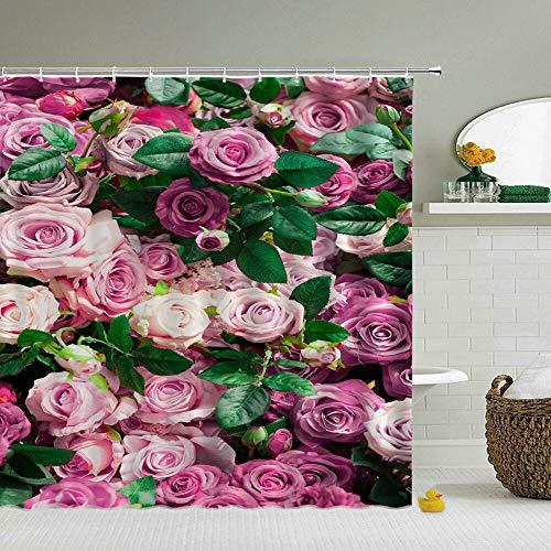 XCBN Cortinas de Ducha de Pared de Flores Frescas de ruralidad, Cortina de Ducha de baño, Cortina de baño de Tela 3D, mampara de baño Impermeable A1 150x180cm