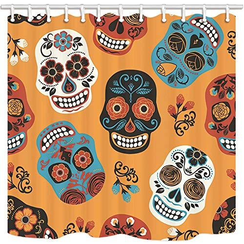 MMPTN Mexican Festival Duschvorhänge für Badezimmer Zuckerschädel für Tag der Toten Polyester Stoff Wasserdicht Bad Vorhang Duschvorhang Haken Enthalten 71X71in