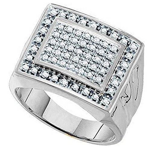 Little Treasures 0.48 Carat (ctw) 9 ct White Gold Round Diamond Mens Cluster Ring Wedding Band 1/2 CT