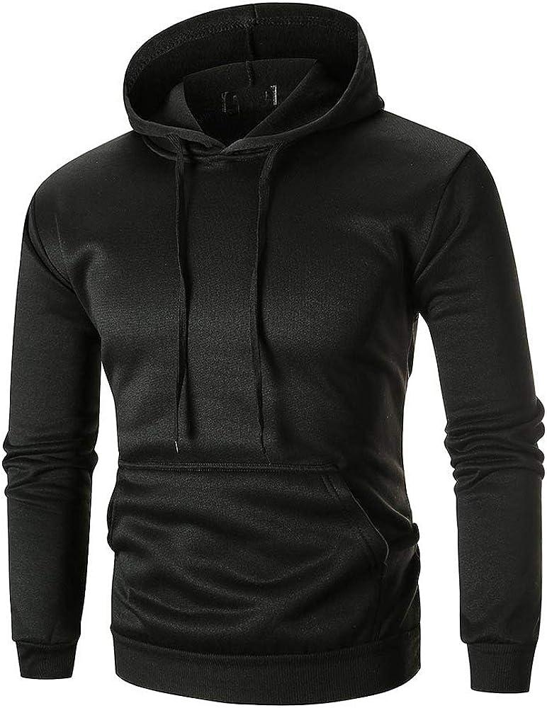 Asibeiul Men's Hoodie Sweatshirt Hooded Coat Jacket Long Sleeve Top Outwear Solid Casual Autumn Winter Warm Blouse Cotton Tee