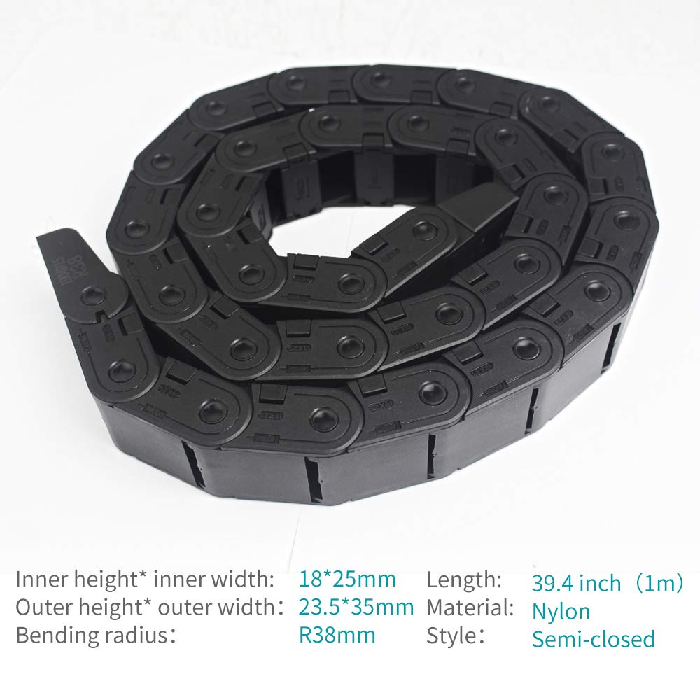 Cable Carrier Chain Black Plastic Flexible Open Type for 3D Printer and CNC Machine Tools R28 15mm X 20mm 1M with End Connectors