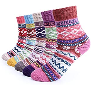 5 Pairs Womens Winter 5 Pairs Women Winter Knitting Thicken Warm Cotton Socks Thermal Socks Assorted Patterns UK4.5-7.5EU 35-40:Ukcustomizer