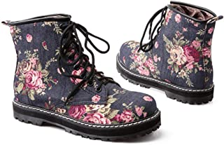 Super bang Flower Print Cotton Fabric Women Martin Boots