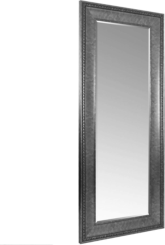 Wohaga XXL Spiegel mit Facettenschliff und Verzierungen 170x70cm Antik-Optik Silber Flurspiegel Ankleidespiegel Hngespiegel Wandspiegel
