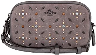 Women's Crossbody Clutch in Suede Leather with Prairie Rivets
