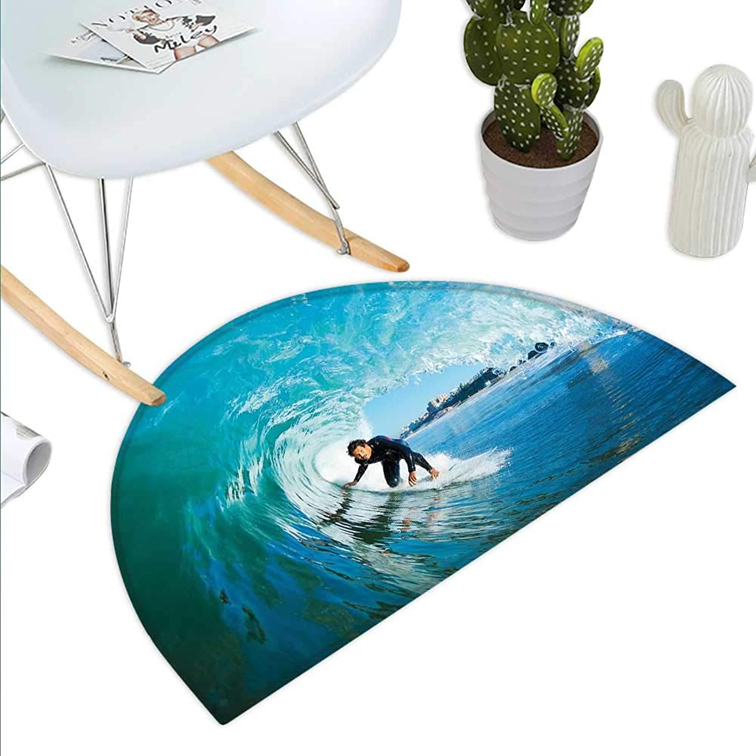 Wave Semicircle Doormat Extreme Sportsman Surfer Inside Barreled Wave Fun Action Holiday Vacation Halfmoon doormats H 39.3  xD 59  Turquoise Light bluee