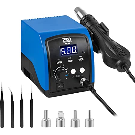 Hot Air Rework Station, PROSTORMER 120V Digital Display Heat Gun with 3 sets stored temperature and sleep mode, Airflow Efficiency, Accurate Temp 100~500 ℃ (212~932°F) for Electronics Repairing