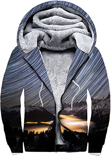 LHHJ Hommes Doubleure en Peluche Sweat à Capuche 3D Fantaisie Imprimé Sweat Shirts Drawstbague Pulls sweat à capuches Manches Longues avec Poche Zip épais Double Couche