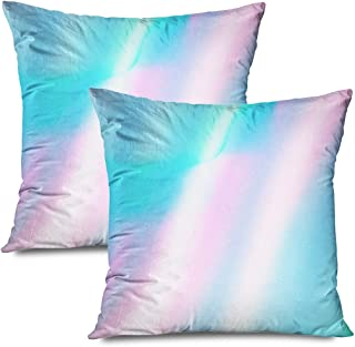 Ahawoso Set of 2 Throw Pillow Covers Square 20x20 Apparel Holographic Template Abstract Foil Metal Poster Cover Textures Retro Flyer Brochure Color Zippered Pillowcases Home Decor Cushion Cases