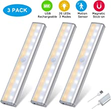 Motion Sensor Closet Lights USB Rechargeable Cordless Under Cabinet Lightening, Stick-on Anywhere Wireless Battery Operated 20 LED Night Light Bar, Home Indoor Safe Lamp for Wardrobe Stairs, 3 Pack