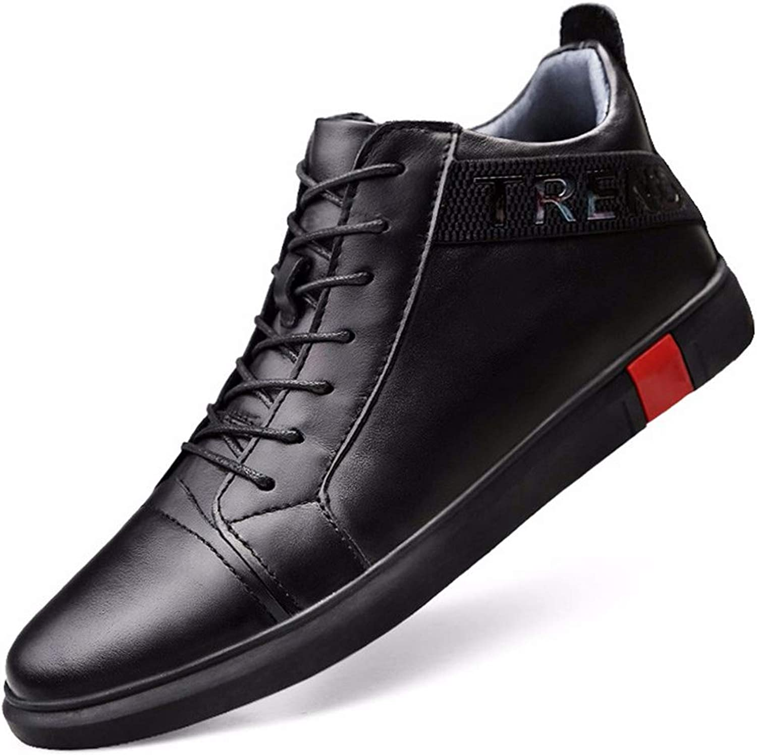 Leather Men's shoes Winter New Real Leather Men's Casual shoes in The High-top shoes Men's Casual shoes Black (color   Black, Size   47)