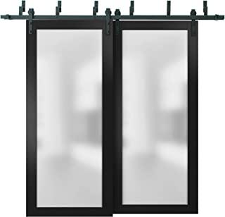 Sliding Closet Frosted Glass Barn Bypass Doors with Hardware   Planum 2102 Black Matte   Sample of Door Color