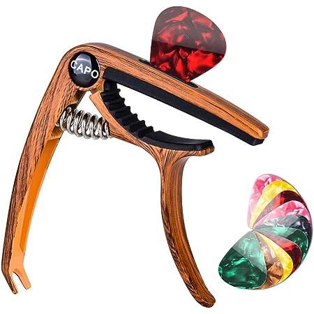 Olycism Capodastre de Guitare Avec 10pcs 0,46 mm Médiators pour Guitare et Extracteur de pont de guitare et Support de médiator intégré pour Guitare Acoustique Electrique Ukulélé Mandoline Banjo