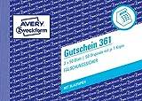 AVERY Zweckform 361 Gutschein (A6 quer, mit 1 Blaupapier, von Rechtsexperten geprüft,...