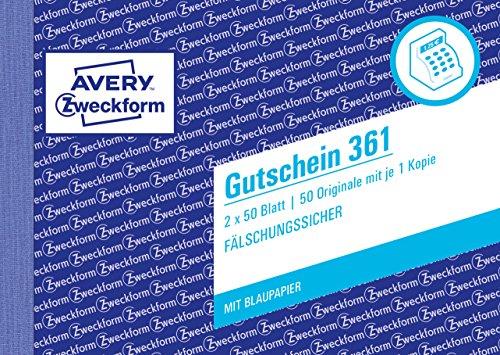 AVERY Zweckform 361 Gutschein (A6 quer, mit 1 Blaupapier, von Rechtsexperten geprüft, fälschungssicher, mit Ausfüllhilfe, für Deutschland zum Erstellen von Gutschriften, 2x50 Blatt) weiß/gelb