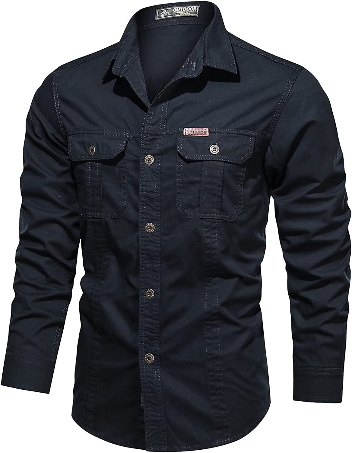 Men's Henley Cotton Casual Long Sleeve Lightweight Button T-Shirts Outdoor Washed Shirt Military Style Plus Sizes Shirts