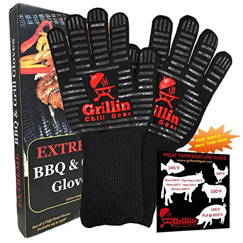 BBQ Grilling Gloves by Grill n Chill - 932°F Extreme Heat Resistant Grill Gloves for Cooking, Oven, Barbecue - Longest (15 inches) for Best Fire Protection