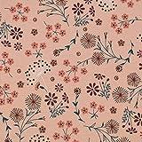 SCHÖNER LEBEN. Jersey de algodón con diseño de flores de león, color rosa y verde, 1,45 m de ancho