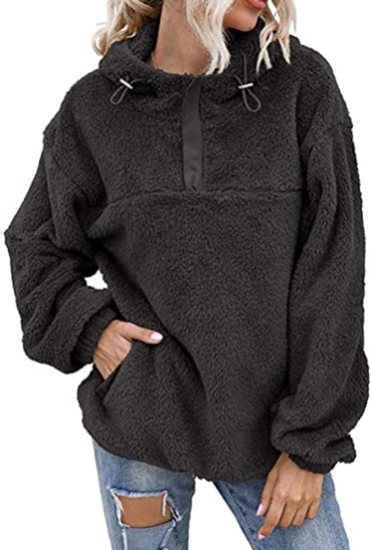 haoricu Women's Fuzzy Fleece Hoodies Teen Girl Solid Oversized Hoodie with Pockets 3/4 Zipper Hooded Sweatshirts