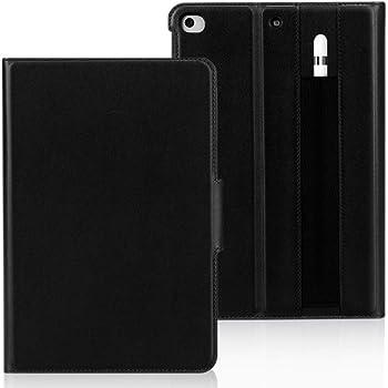 iPad Mini 5 2019 ケース iPad Mini4 ケース ipadみにmini4ケース,FYY 牛本革 ハンドメイド 薄型 二つ折 オートスリープ機能 ペンホルダー付き マグネット開閉式 スタンド機能 全面保護型 スマートケース iPad Mini (第五世代/第四世代)兼用(ブラック)
