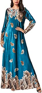 KRUIHAN Women Muslim Full Length Gown - Velvet Kaftan Long Sleeve Ball Dress Plant Print Islamic Clothing