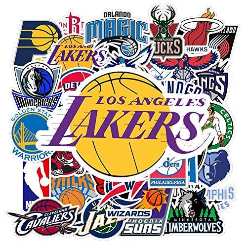 Paquete de logotipo de equipo de baloncesto de 32 uds, pegatinas deportivas, pegatinas de regalo, pegatina de regalo impermeable, maleta de PVC, equipaje, monopatín, pegatinas para ordenador portátil