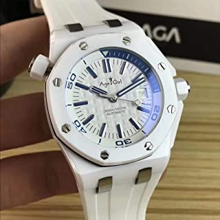 HNOLVH - Nuevos Hombres Acero Inoxidable Automático Mecánico Limitado Zafiro Reloj De Cerámica Blanca De Goma Azul