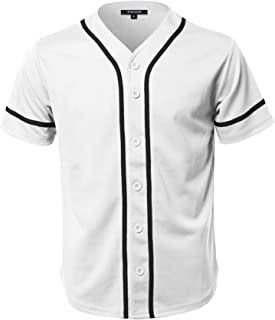 Youstar Men's Solid Front Button Closure Athletic Baseball Inspired Jersey Top