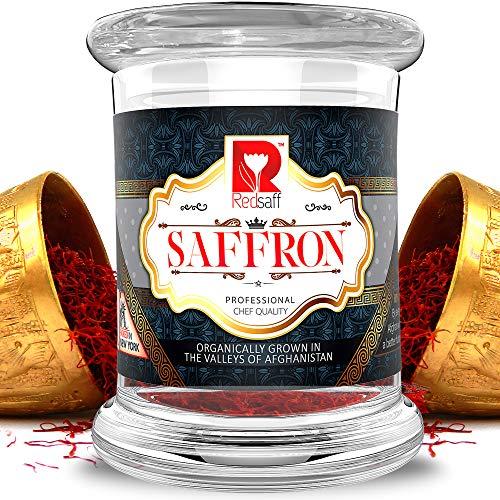 Redsaff Saffron - Organically Grown Authentic Afghan Saffron threads (Fresh Harvest) (270+ Color Strength) Professional Chef Quality, Non Gmo, Vegan, Premium Saffron Spice (28 Grams/1 Ounce)