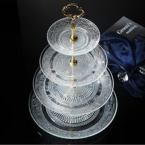 4-tier Round Glass Wedding Cake Stand Cupcake Tree for Wedding Cupcakes Dessert Tower Cupcake Stand for Party Cupcakes and Other Desserts/Elegant Tea Party Serving Platter