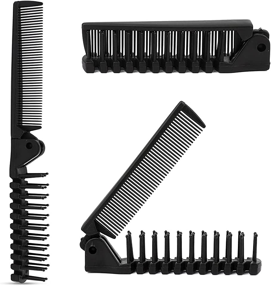 Folding Hair Brush and Comb, Plastic Portable Travel Hair Brush Pocket Hair Comb Double Headed Massage Hair Comb for Thick, Thin Hair (Black)