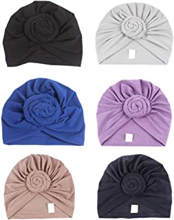 4Pack/6Packs Women Turban African Pattern Knot Headwrap Beanie Pre-Tied Bonnet Chemo Cap Hair Loss Hat
