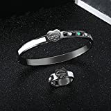 WLMT Trendy Hollow Heart Jewelry Set Bangles Anillos para Mujeres Hombres Acero Inoxidable Pulsera de Lujo Femenino Boda Regalos de joyería (Metal Color : Silver Color Ring, Ring Size : 9)