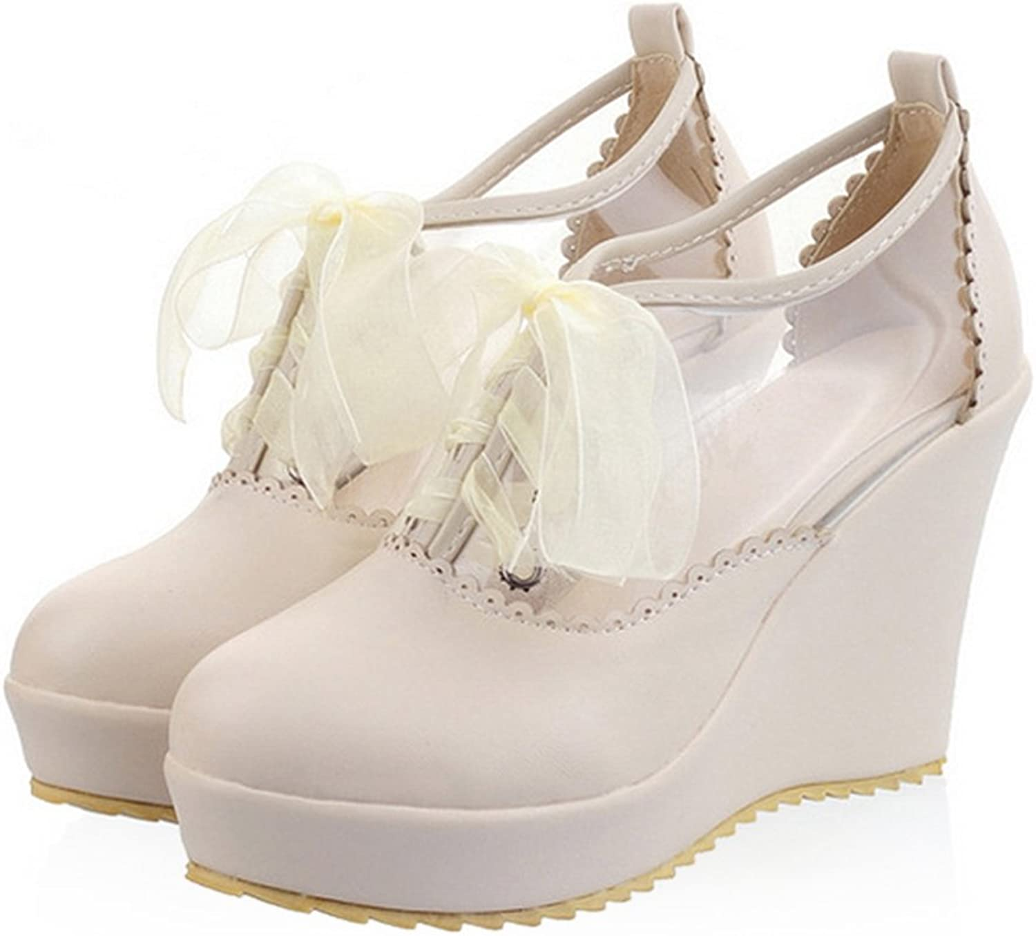 Preppy Style Candy color Lace-up High Platform Thick Sole Thin shoes Plus Size beige 39