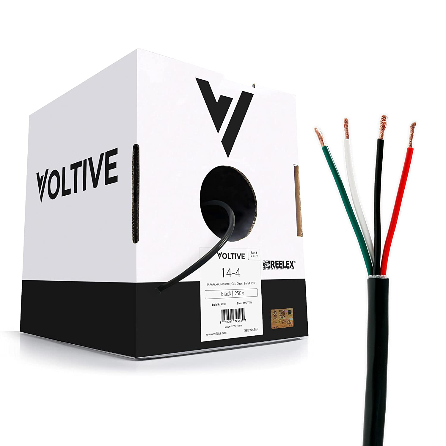 Voltive 14/4 Speaker Wire - 14 AWG/Gauge 4 Conductor - UL Listed in Wall (CL2/CL3) and Outdoor/In Ground (Direct Burial) Rated - Oxygen-Free Copper (OFC) - 250 Foot Bulk Cable Pull Box - Black